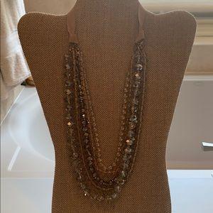 Loft ribbon tied beaded necklace